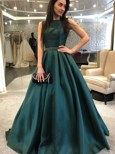A-Line/Princess Sleeveless Bateau Sweep/Brush Train Beading Satin Dresses