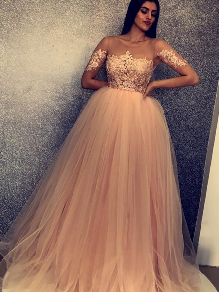 Ball Gown Short Sleeves Sweep/Brush Train Scoop Applique Tulle Dresses