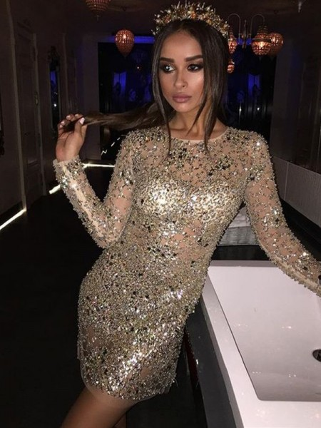 Sheath/Column Long Sleeves Scoop Sequin Short/Mini Gown