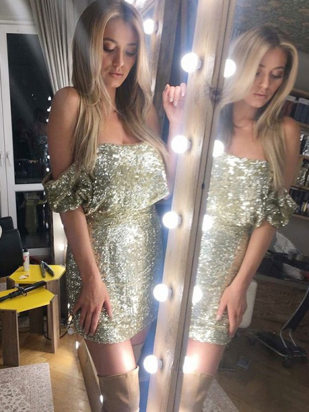 Sheath/Column Sleeveless Sequin Short/Mini Gown