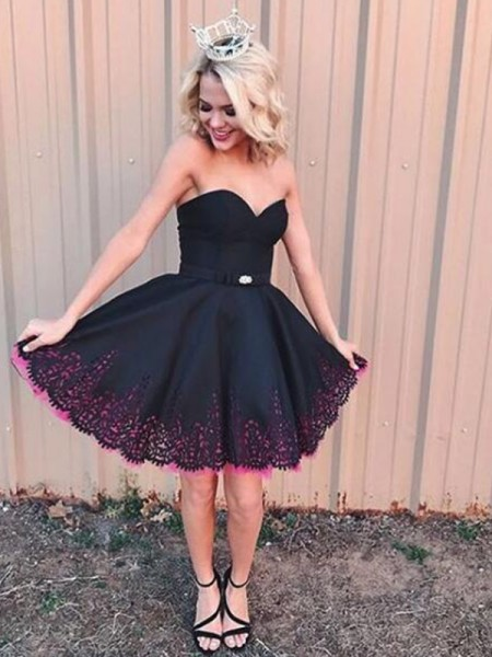 A-Line Sleeveless Sweetheart Satin With Short/Mini Gown