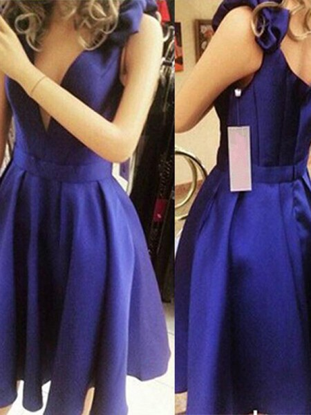 A-Line/Princess Sleeveless Straps Satin Bowknot Short/Mini Dress