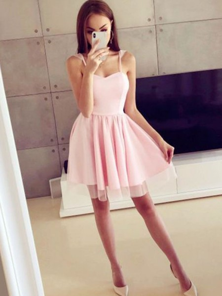 A-Line/Princess Satin Straps Ruched Sleeveless Short/Mini Dress