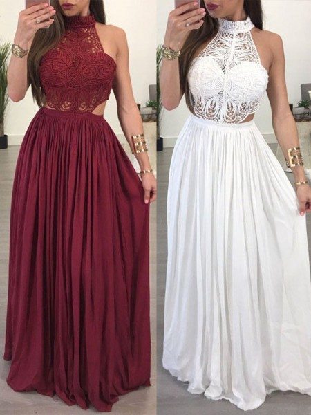 A-Line/Princess Sleeveless Halter Floor-Length Chiffon Lace Dresses
