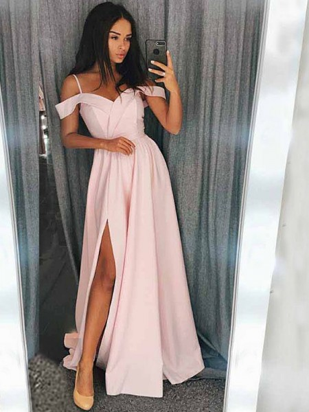 A-Line/Princess Sleeveless Sweep/Brush Train Off-the-Shoulder Satin Ruffles Dresses