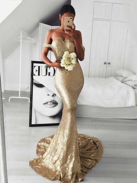 Trumpet/Mermaid Sleeveless Sweep/Brush Train Off-the-Shoulder Ruffles Sequins Dresses