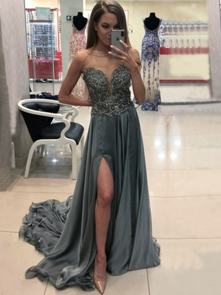 A-Line/Princess Sleeveless Bateau Sweep/Brush Train Crystal Chiffon Dresses