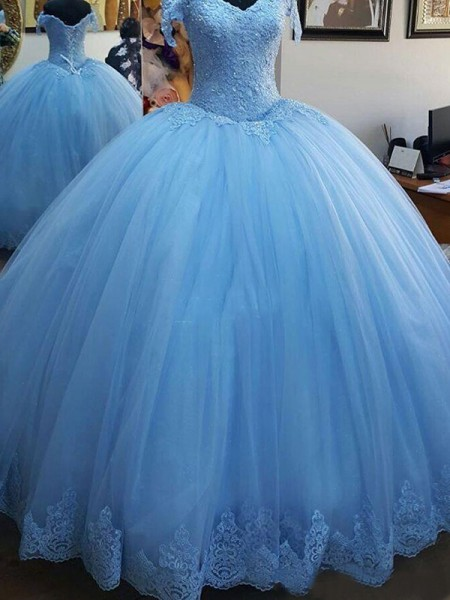 Ball Gown Sleeveless Sweep/Brush Train Off-the-Shoulder Lace Tulle Dresses