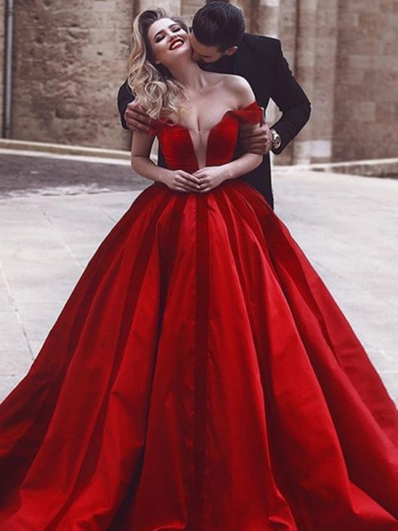 Ball Gown Sleeveless Sweep/Brush Train Off-the-Shoulder Satin Ruffles Dresses