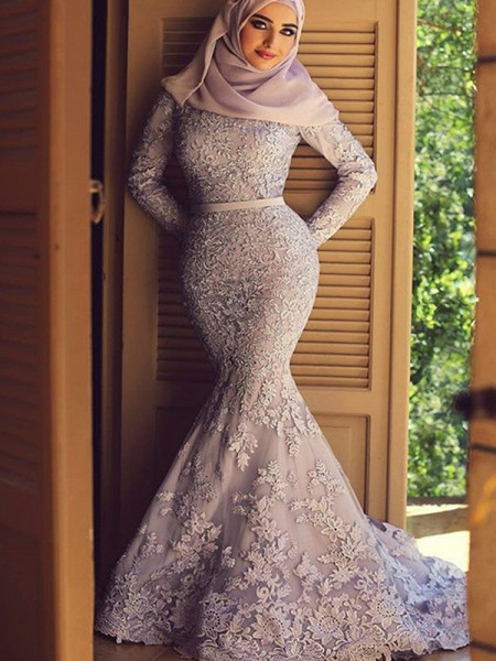 Trumpet/Mermaid Long Sleeves Sweep/Brush Train Scoop Ruffles Lace Muslim Dresses