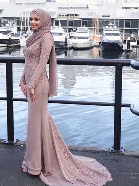 Trumpet/Mermaid Long Sleeves Sweep/Brush Train Scoop Applique Silk like Satin Muslim Dresses