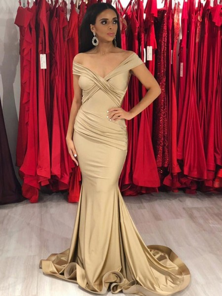 Trumpet/Mermaid Sleeveless Sweep/Brush Train Off-the-Shoulder Satin Ruffles Dresses