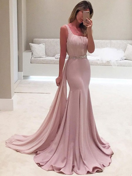 Trumpet/Mermaid Sleeveless One-Shoulder Ruffles Sweep/Brush Train Chiffon Dress