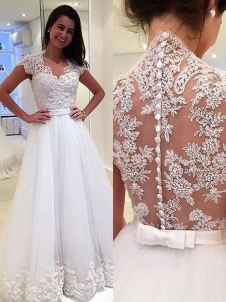 A-Line/Princess V-neck Sleeveless Floor-Length Tulle Applique Wedding Dress