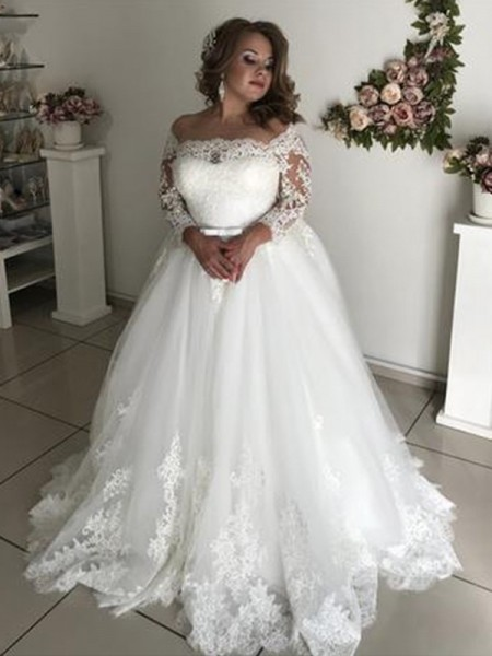 A-Line/Princess Long Sleeves Off-the-Shoulder Lace Sweep/Brush Train Tulle Wedding Dress