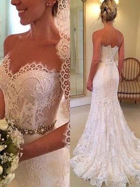 Sheath/Column Sweetheart Sleeveless Sweep/Brush Train Beading Lace Wedding Dress
