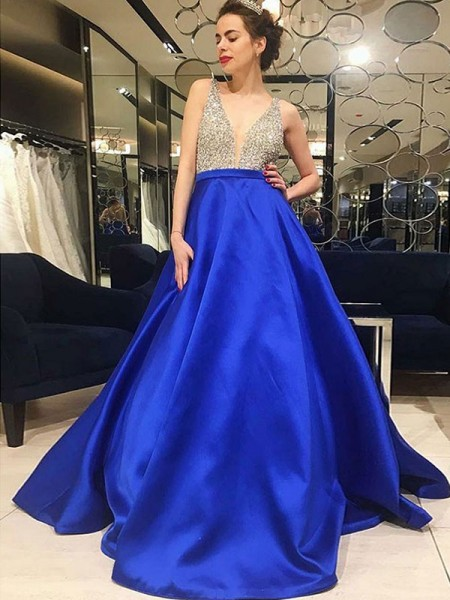 A-Line/Princess V-neck Sleeveless Sweep/Brush Train Beading Satin Dress