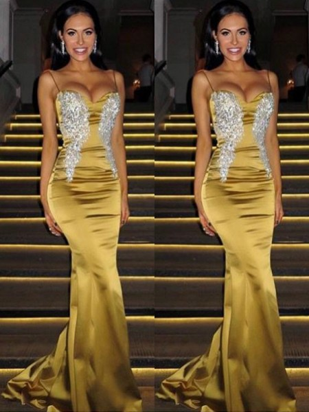 Trumpet/Mermaid Spaghetti Straps Sleeveless Sweep/Brush Train Beading Satin Dress
