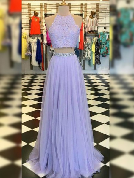 A-Line/Princess Tulle Lace Halter Sleeveless Sweep/Brush Train Two Piece Dress
