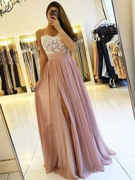 A-Line/Princess Spaghetti Straps Sleeveless Floor-Length Applique Chiffon Dress