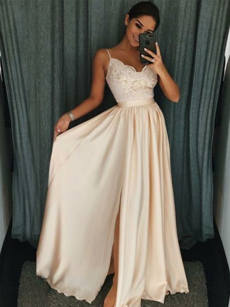 A-Line/Princess Spaghetti Straps Sleeveless Floor-Length Applique Silk like Satin Dress