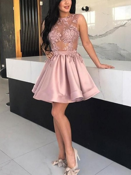 A-Line/Princess Satin Applique Sheer Neck Sleeveless Short/Mini Dress
