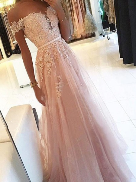 A-Line/Princess Sleeveless Off-the-Shoulder Floor-Length Applique Tulle Dresses