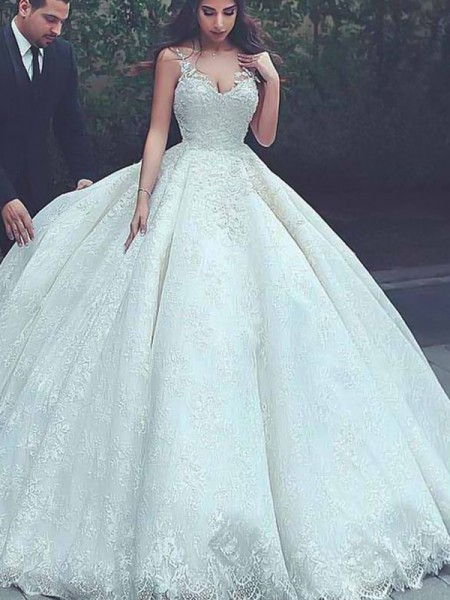 Ball Gown Spaghetti Straps Sweep/Brush Train Sleeveless Lace Tulle Wedding Dresses