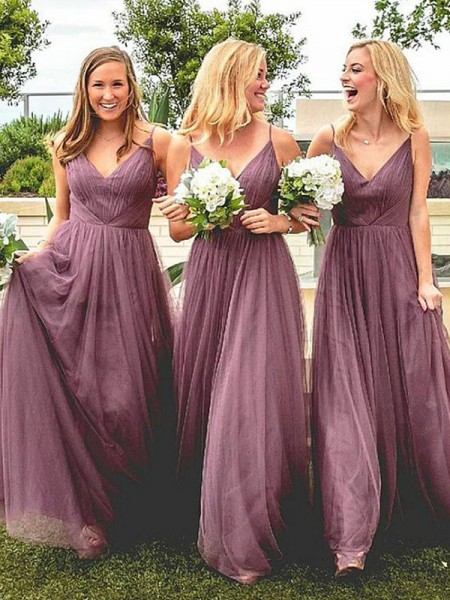 A-Line/Princess Spaghetti Straps Sleeveless Floor-Length Tulle Bridesmaid Dresses