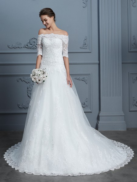 Ball Gown Lace Off-the-Shoulder Court Train Beading Wedding Dress