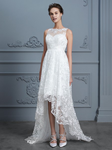 A-Line/Princess Scoop Asymmetrical Lace Wedding Dress
