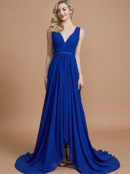A-Line/Princess Chiffon V-neck Sweep/Brush Train Bridesmaid Dress
