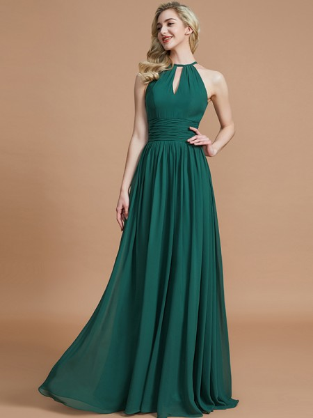 A-Line/Princess Chiffon Scoop Floor-Length Bridesmaid Dress