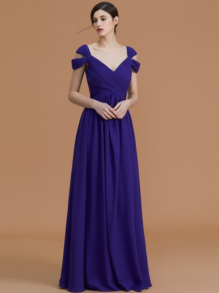 A-Line/Princess Off-the-Shoulder Floor-Length Chiffon Ruched Bridesmaid Dress