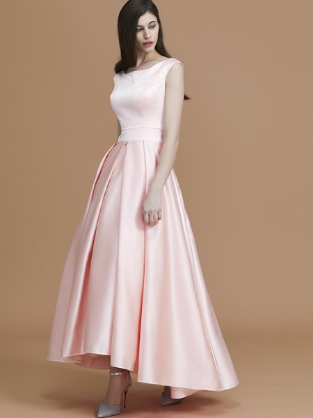 A-Line/Princess Bateau Asymmetrical Satin Ruffles Bridesmaid Dress