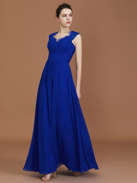 A-Line/Princess Sweetheart Floor-Length Chiffon Ruffles Bridesmaid Dress