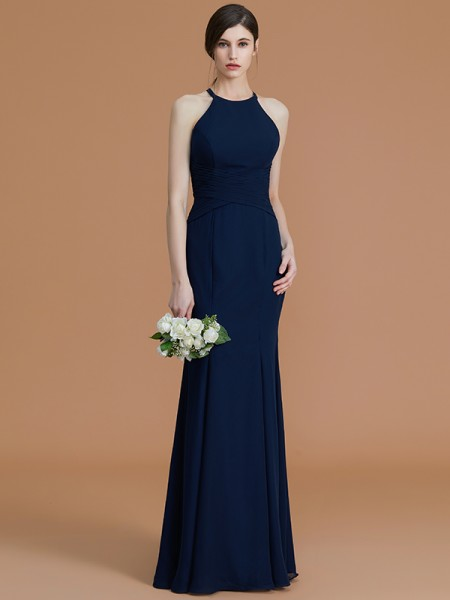 Trumpet/Mermaid Halter Floor-Length Chiffon Ruched Bridesmaid Dress
