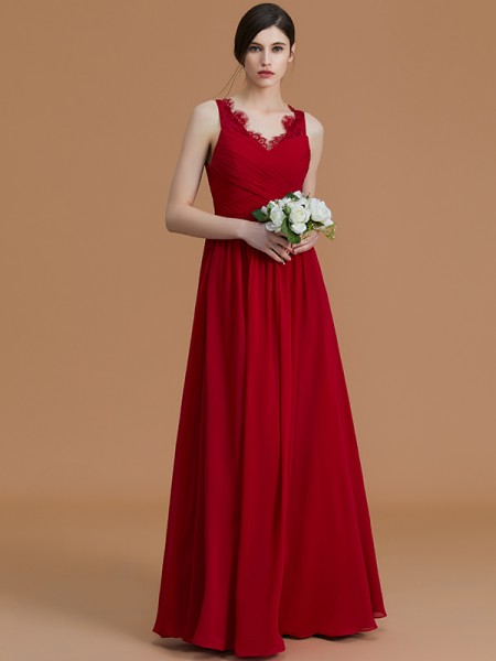 A-Line/Princess V-neck Floor-Length Chiffon Ruffles Bridesmaid Dress