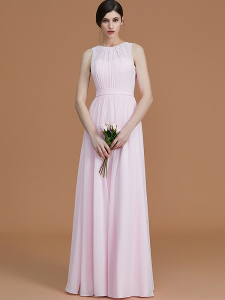 A-Line/Princess Jewel Floor-Length Chiffon Ruched Bridesmaid Dress
