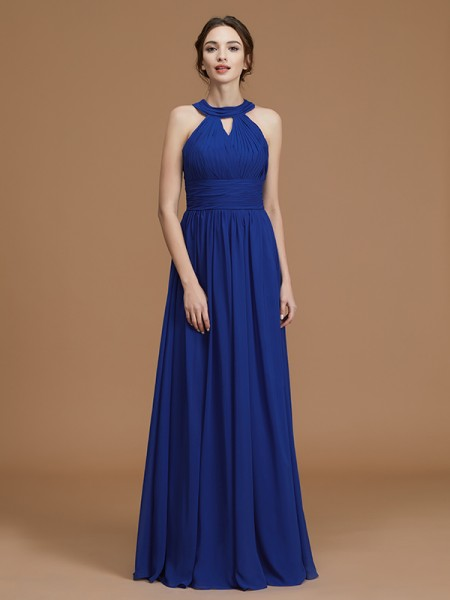 A-Line/Princess Halter Floor-Length Chiffon Ruched Bridesmaid Dress
