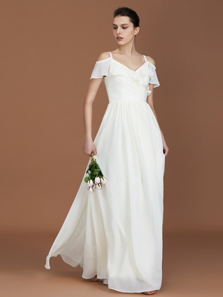 A-Line/Princess Spaghetti Straps V-neck Floor-Length Chiffon Ruched Bridesmaid Dress