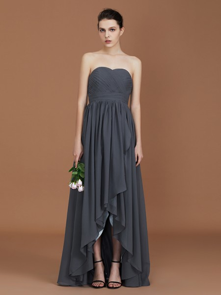 A-Line/Princess Asymmetrical Sweetheart Floor-Length Chiffon Ruched Bridesmaid Dress