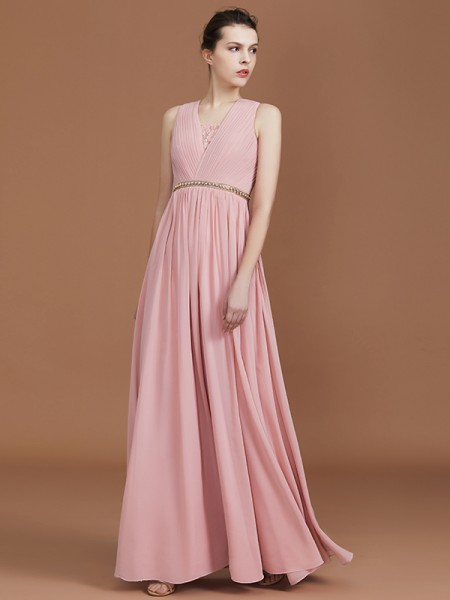 A-Line/Princess Lace Floor-Length Chiffon V-neck Ruched Bridesmaid Dress