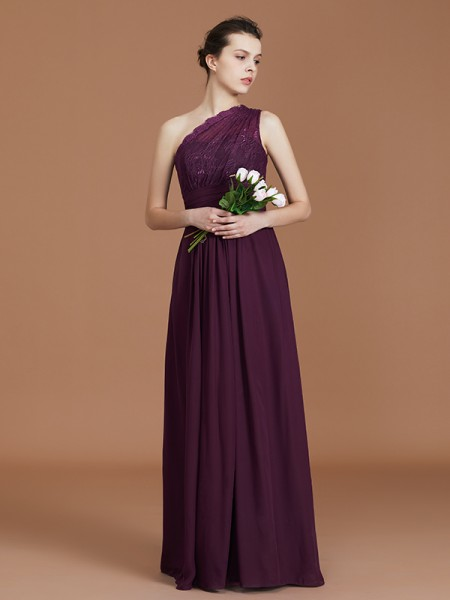 A-Line/Princess One-Shoulder Chiffon Floor-Length Bridesmaid Dress