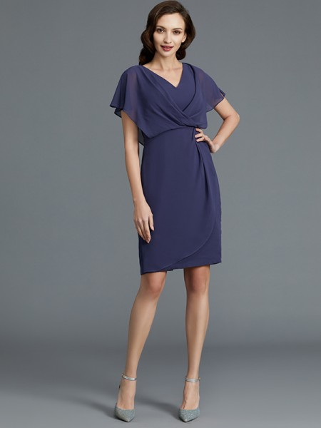 Sheath/Column Chiffon V-neck Knee-Length Mother of the Bride Dress