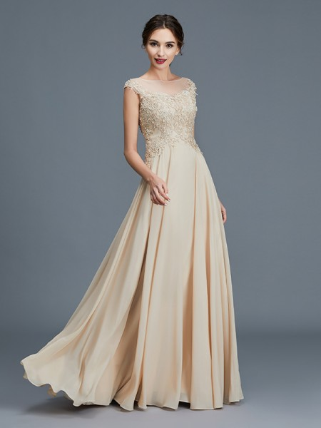 A-Line/Princess Scoop Chiffon Floor-Length Ruffles Mother of the Bride Dress