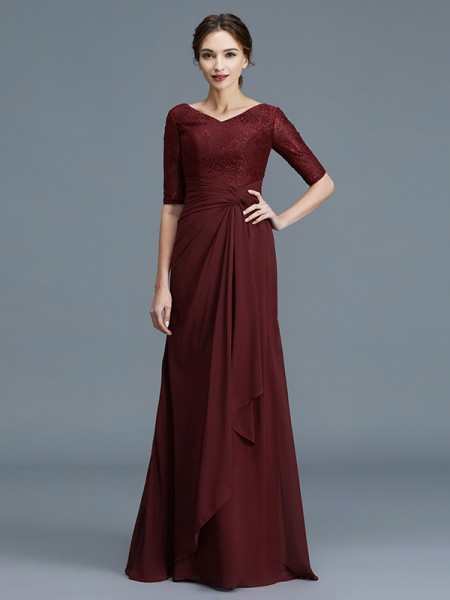A-Line/Princess Chiffon V-neck Floor-Length Ruffles Mother of the Bride Dress