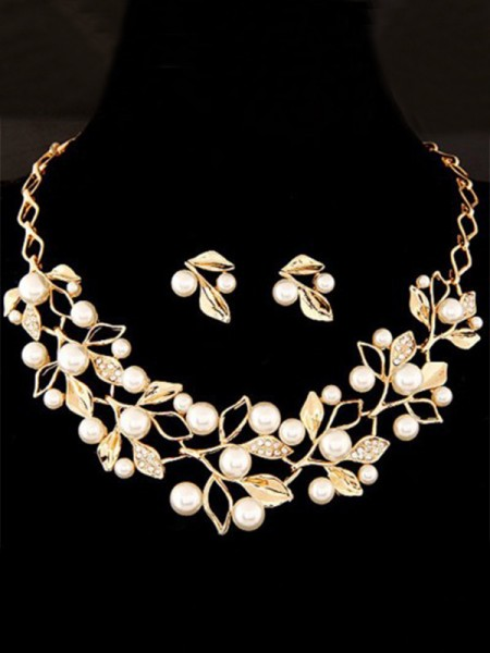 Ladies's Attractive Alloy With Pearl Jewelry Set