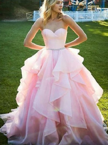 Ball Gown Sleeveless Floor-Length Beading Organza Dress