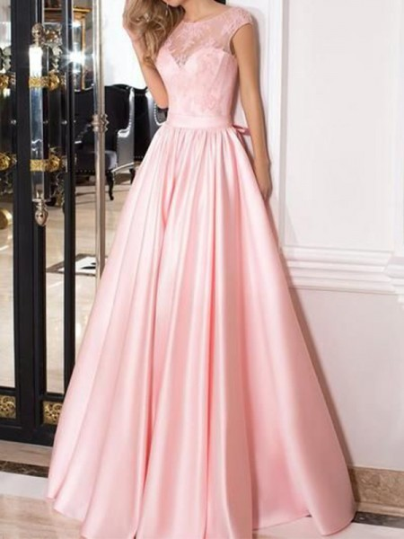 A-Line/Princess Sleeveless Sheer Neck Floor-Length Lace Satin Dress